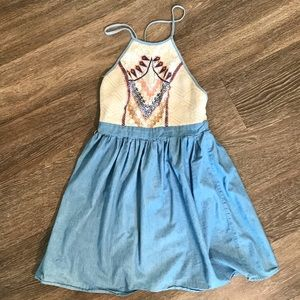 FLYING TOMATO BLUE CHAMBRAY EMBROIDERED DRESS